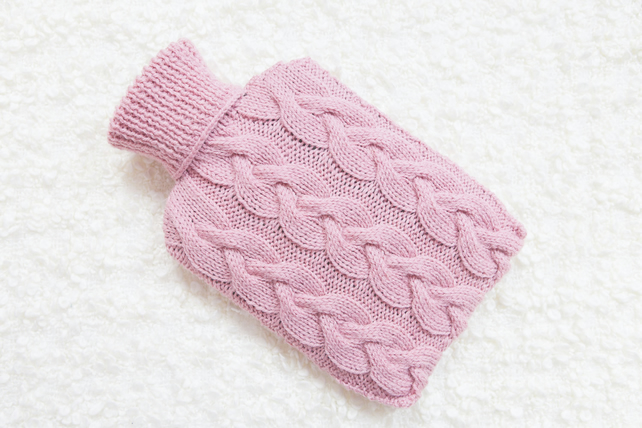 Hand knitted hot water bottle cover, cosy in pink. Rustic bedroom, home decor