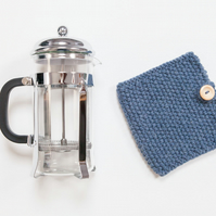 Denim knit coffee cosy - Cafetiere cosy - Coffee jug warmer - French press cover