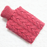 Hand knitted hot water bottle cover, cosy in red. Rustic bedroom, home decor