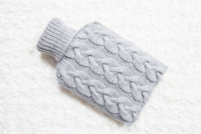 Hand knitted hot water bottle cover, cosy in grey. Rustic bedroom, home decor