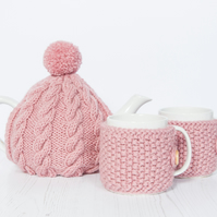Hand knit tea and mug cosy gift set - Pom pom tea cosy set - Teapot cosy set