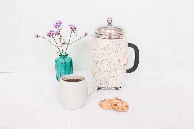 Oatmeal knit coffee cosy- Cafetiere cosy - Coffee jug warmer -French press cover
