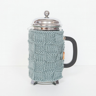 Dusky blue coffee cosy - Cafetiere cosy - Coffee jug warmer - French press cover