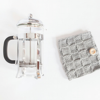 Light grey coffee cosy - Cafetiere cosy - Coffee jug warmer - French press cover