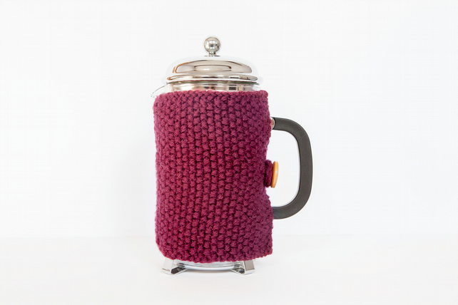 Plum knit coffee cosy - Cafetiere cosy - Coffee jug warmer - French press cover