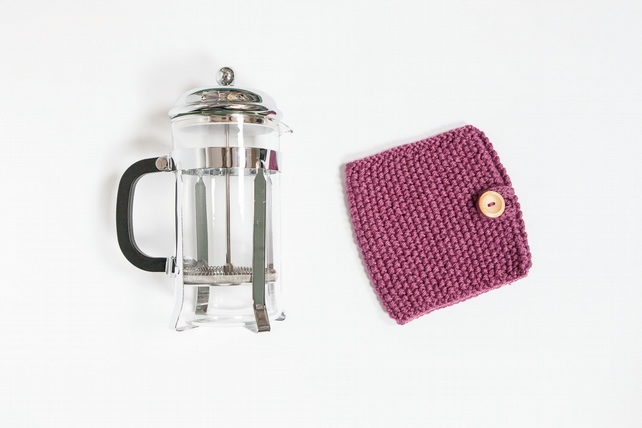 Berry knit coffee cosy - Cafetiere cosy - Coffee jug warmer - French press cover