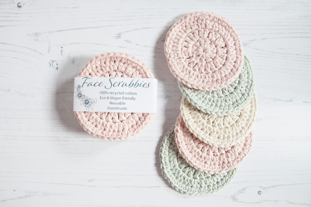Reusable Face Scrubbies, Eco Friendly cleansing pads - Zero Waste - PASTEL