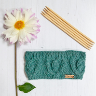 Alpaca cable headband, chunky hand knitted ear warmer in Sea Green