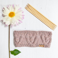 Alpaca cable headband, chunky hand knitted ear warmer in Rose Pink