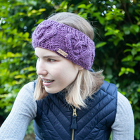 Alpaca cable headband, chunky hand knitted ear warmer in Heather Purple