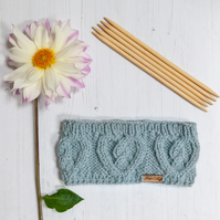 Alpaca heart cable headband, chunky hand knitted ear warmer in Duck Egg Blue.