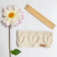 Alpaca cable headband, chunky hand knitted ear warmer in a rich Cream