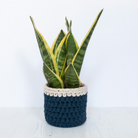 Small plant pot cover in navy & cream. Made from recycled cotton.