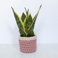 Small plant pot cover in pink & cream. Made from recycled cotton.