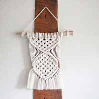 Small Macrame Knotted Wall Hanging. Boho Wall Decor