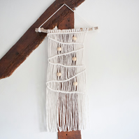 Medium Macrame Knotted Wall Hanging with Wooden Beads. Boho Wall Decor