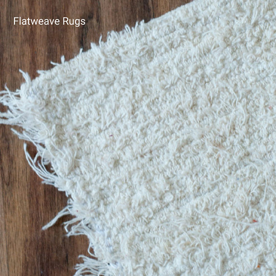 170x240 cm. (5'6'x8' ft)  White Ivory Rugs, Handwoven, Upcycled, Washable Rug