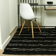 90x150cm. 3' x 5 Black & White rug Handwoven Up-cycled & Washable rug