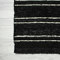 120x160 cm. 4' x 5'3 Black & White rug Handwoven Up-cycled & Washable rug