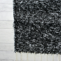 120x160 cm. 4' x 5'3 Black Shaggy rug Handwoven Up-cycled & Washable rug