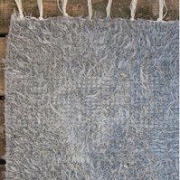 60x120 cm. 2' x 4' Grey Revesible rug Handwoven Up-cycled & Washable rug