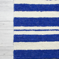 60x120 cm. 2' x 4' Blue & White  rug Handwoven Up-cycled & Washable rug