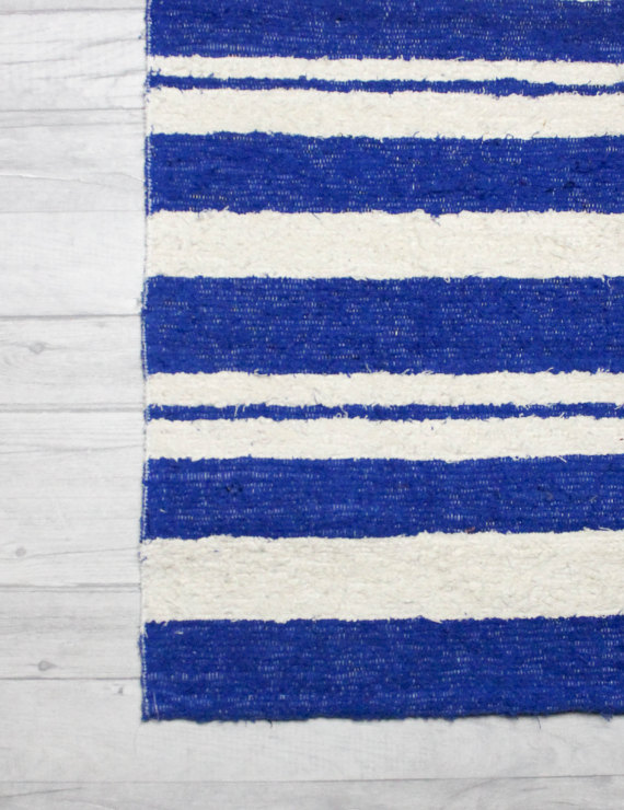 90x150cm. 3' x 5 Blue & White rug Handwoven Up-cycled & Washable rug