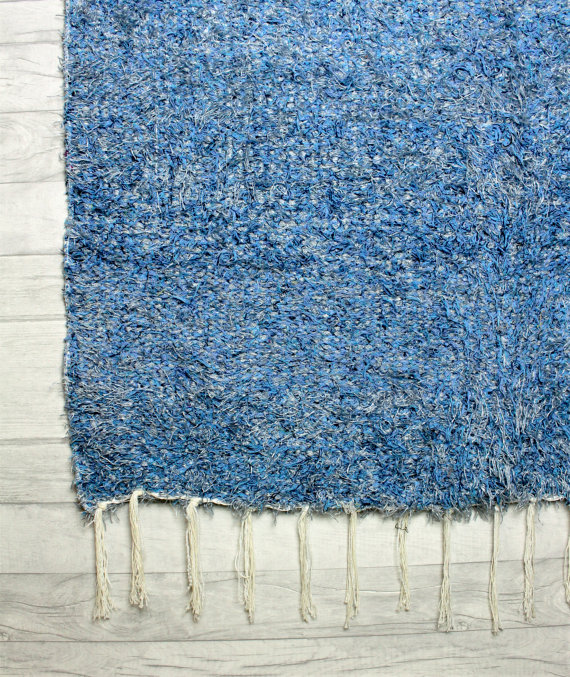 120x160 cm. 4' x 5'3 Blue Shaggy rug Handwoven Up-cycled & Washable rug