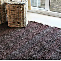 120x160 cm. 4' x 5'3 Brown rug Handwoven Up-cycled & Washable rug