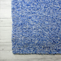 90x150cm. 3' x 5 Blue rug Handwoven Up-cycled & Washable rug