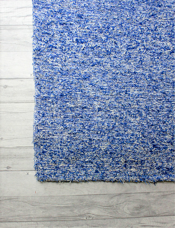 60x120 cm. 2' x 4' Blue rug Handwoven Up-cycled & Washable rug