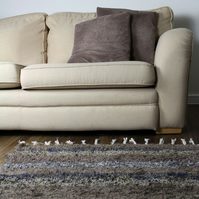 170x240cm. 5'6'x8' Brown Stone rug Handwoven Up-cycled & Washable rug