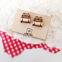 Wooden Christmas Jumper Earrings