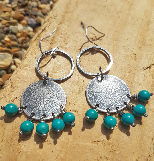 Sterling silver boho dangle drop earrings with turquoise beads
