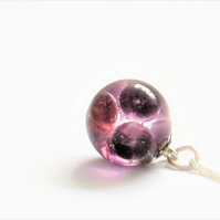 Bespoke clear resin and purple vintage glass beads pendant necklace.