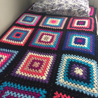 Crochet Granny Square Blanket. To Fit Single Bed