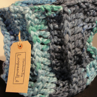 Winter Scarf Chunky Crochet Blue Cowl Scarf