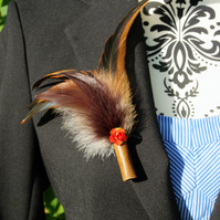 Delicate Red Flower, Rich Purple and Bronze Feather Brooch or Hat Pin