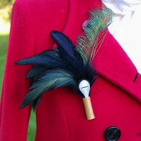 Black, White and Peacock Feather Brooch or Hat Pin