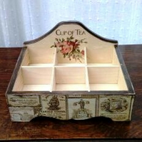 Shabby chic tea box, wooden tea chest, 6 compartments, kitchen storage, flowers