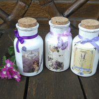 Shabby chic glass bathroom bottles, handmade, for body lotion bubble bath