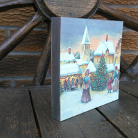 Shabby chic wooden standing picture plaque, Christmas, double sided, handmade
