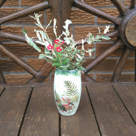 Floral vase, shabby chic, glass, handmade, decoupage, ladies, small, Christmas