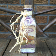 Decorative glass bottle, shabby chic bathroom, floral, lavender, bubble