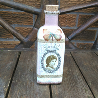 Decorative bathroom bottle, glass cork top shabby chic dressing room ladies gift