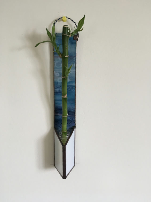Stained Glass Wall Flower Vase