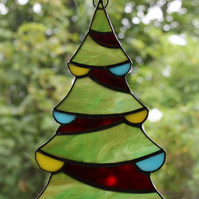 Stained Glass Christmas Tree Suncatcher Christmas Decoration