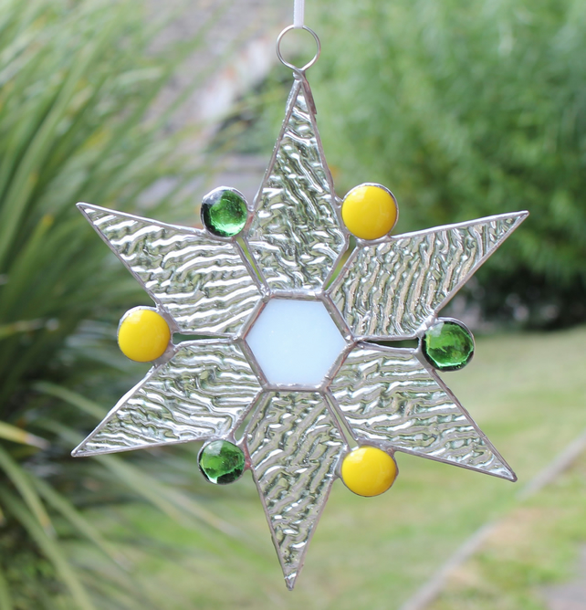 Snowflake Star Clear with Green and Yellow Glass Nuggets Suncatcher Decoration