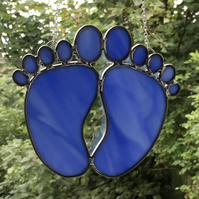 Stained glass pair of baby blue footprints suncatcher