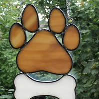 Stained Glass Paw Print with a Bone Suncatcher Ornament